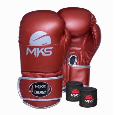 Kit Luva Boxe Mks Energy V2 Metalic Red Bandagem 2,55M 14 Oz