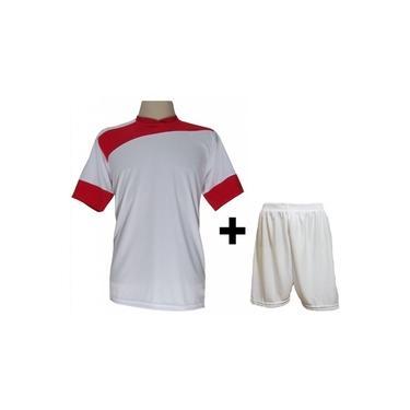 Imagem de Uniforme Esportivo com 14 camisas modelo Sporting Branco/Vermelho + 14 calções modelo Madrid Branco +