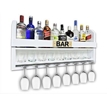 Imagem de Bar Barzinho Suspenso Suporte De Parede Adega Vinhos Bebidas 100x45cm Branco