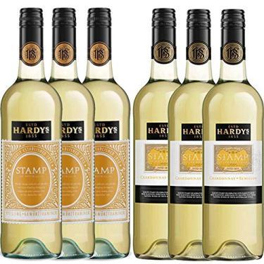 Kit 6x Vinho Branco Australiano Hardy's Stamp Chardonnay-Semillion/Rieseling-Gewurztraminer 2017