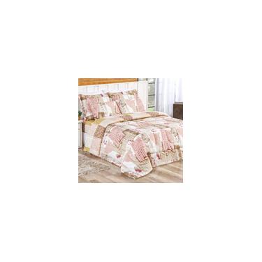 Imagem de Edredom Queen Rosê Estampado Patchwork + Lençol de Baixo e Fronhas - 6 Peças