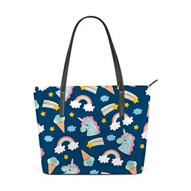 Bolsa de ombro para mulheres, sacola de couro para compras, grande, trabalho, fofo, unicórnio, gelo, sem costura, bolsa casual