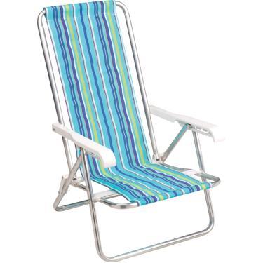 Cadeira de Praia De Alumínio Reclinável Com 4 Posições