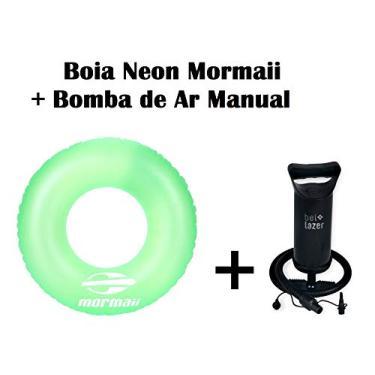 Kit 01 Boia inflável neon Verde Mormaii+ Bomba de Ar Manual Bel fix