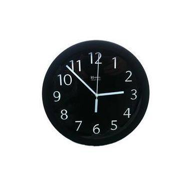 3198464b027 Relógio De Parede Redondo Moderno Analógico Mecanismo Step Alumínio Herweg  Preto