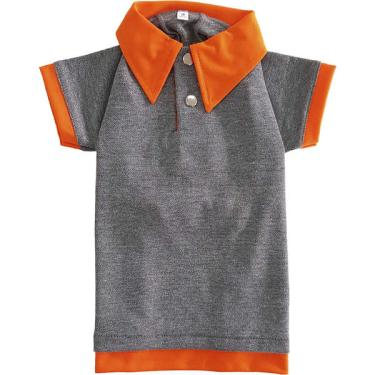 Camiseta Polo Neon Pickorruchos Cinza e Laranja - Tam. 05