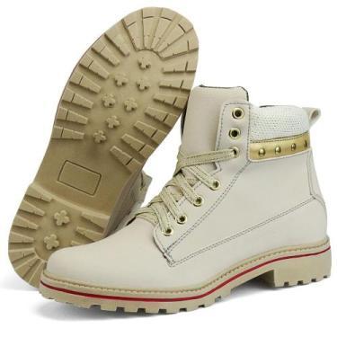 Coturno SapatoFran Casual Feminino Branco e Dourado
