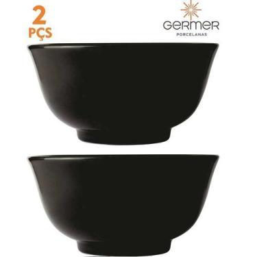 Imagem de Conjunto 2 Tigelas Oriental Preto para Sopa Bowl Square Germer Porcela