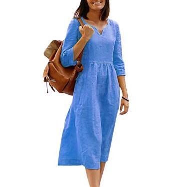 Eledobby Vestido Feminino De Verão Com Decote Em V De Mangas Compridas Soltas e Balançando Vestido De Comprimento Médio Tamanho Xl
