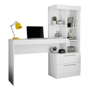Escrivaninha com Estante Office 2 Gavetas Branco - Notável