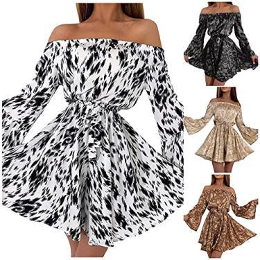 Imagem de SLENDIPLUS Vestido feminino casual de manga comprida com babado, ombro de fora, laço na cintura, vestido de festa, estampa de leopardo, evasê, minivestido com cinto, 01 Branco, XXG