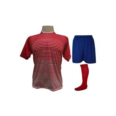 Uniforme Esportivo com 18 camisas modelo City Vermelho/Branco + 18 calções modelo Madrid Royal + 18 pares de meiões Vermelho