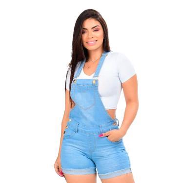 Macaquinho Feminino Jeans Delavê Desfiado