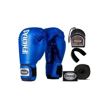 Kit Luva De Boxe Muay Thai Mma Bandagem Bucal 12Oz Azul