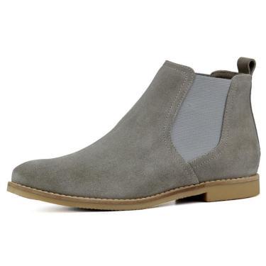 Bota Chelsea Masculina Mr Shoes Camurça Cinza  masculino