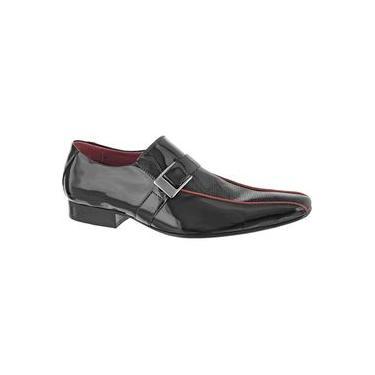 Sapato Masculino Social Bico Longo Stilo Italiano Couro 490 Preto Com Vermelho