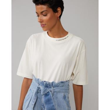 t-shirt um passo de cada vez Feminino AMARO OFF-WHITE M