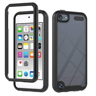 JZ Capa de celular transparente frontal e traseira de 360 graus compatível com iPod Touch 7/6/5 capa bumper de corpo inteiro - preta