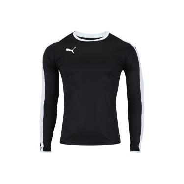 Camisa Manga Longa Puma Liga Jersey LS - Masculina - PRETO BRANCO Puma 8ac4dbd12a8c0