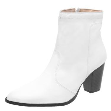 Bota Cano Curto em Couro DR Shoes Branco  feminino