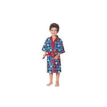 Roupão Aveludado Infantil Quimono Vingadores Azul Lepper - Tamanho P