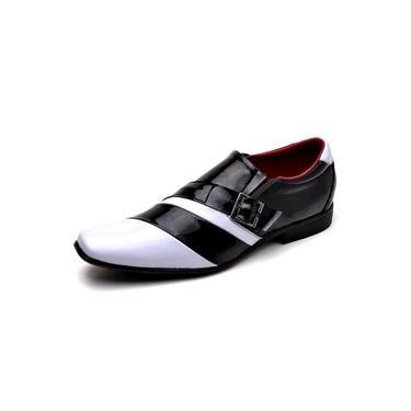Imagem de Sapato Social Masculino Top Franca Shoes Verniz Preto Branco