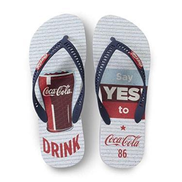 Chinelo Masculino Coca Cola Shoes Branco Marinho Yes CC2881