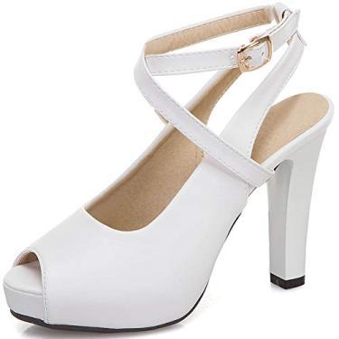 SaraIris Sandálias femininas de verão – Confortável Peep Toe Cross Strap fivela salto alto salto grosso, Branco, 5.5