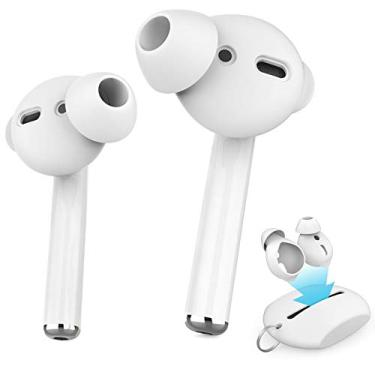 Silicone Auriculares 3 Pares Pads iPhone AirPods Ear Hook + Case Silicone (Branco 3 Pares Tamanho único)