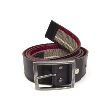 Cinto Casual Pierrô dupla face largo couro legítimo marrom escuro e lona em cores ref. 02M