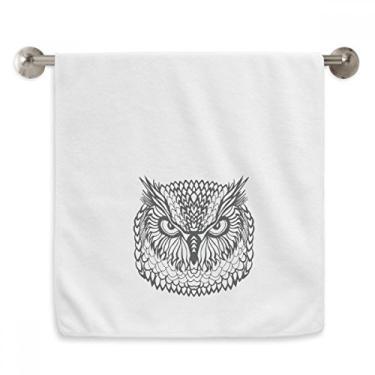 Imagem de DIYthinker Toalha de mão Big Eyes Owl Bird Animal Retrato Sketch Toalha de banho de algodão macio