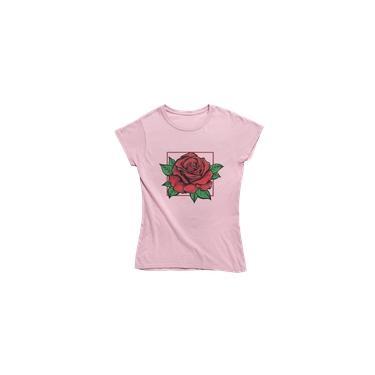 Camiseta Feminina Baby Look W-estilo Rosa Vermelha
