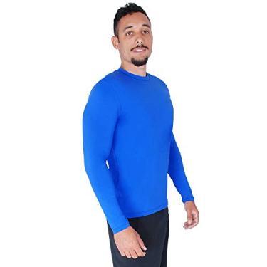 Camisa Proteção Solar Verão Uv 50+ Masculina Praia Piscina Lazer Esportes (EGG/48, Azul)