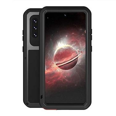 """Hicaseer Capa para Galaxy A72 5G, à prova de neve, à prova de poeira, metal de alumínio durável Gorilla capa de proteção total para Samsung Galaxy A72 5G 6,5"""" - Preta"""