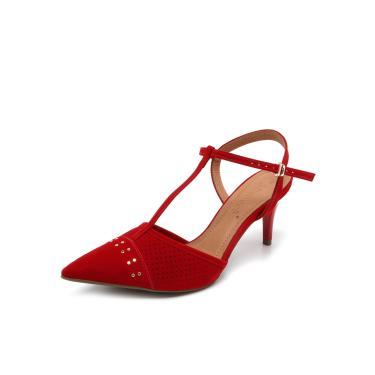 5e74fc0427 Scarpin Couro Bebecê Textura Vermelho Bebecê 7010219 feminino