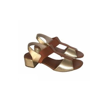 Sandália Salto Baixo Usaflex Mestiço Ouro Camel Y5404