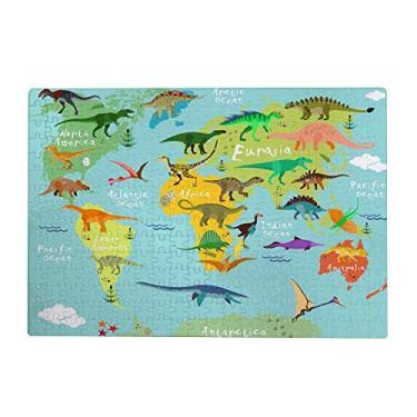 Imagem de ColourLife Quebra-cabeças quebra-cabeça presente de arte para adultos, adolescentes, dinossauro, mapa-múndi de madeira, 300/500/1000 peças, multicolorido