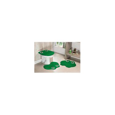 Imagem de Jogo de Tapetes de Banheiro 3 Peças Formato Sapo Verde