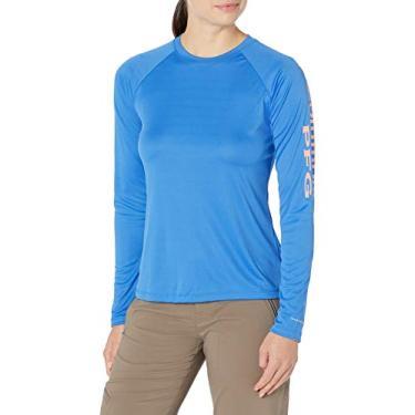 Columbia Women's PFG Tidal Tee Ii Long Sleeve W/Wicking & Uva Protection, Stormy Blue/Light Coral Logo, X-Large