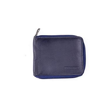 Carteira masculina com zíper em couro Zipper azul
