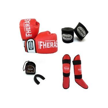 Kit Boxe Muay Thai Oríon - Luva Bandagem Caneleira Bucal - Vermelho/Branco