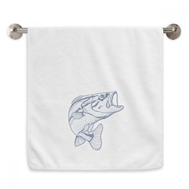 Imagem de DIYthinker Toalha de mão Grain Blue Big Fish Toalha de banho de algodão macio