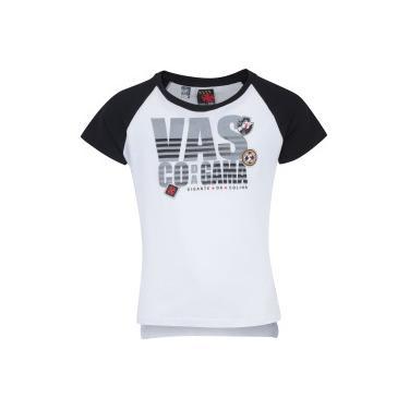 Camiseta do Vasco da Gama School Feminina - Infantil - BRANCO PRETO  Braziline f9d18335a30eb