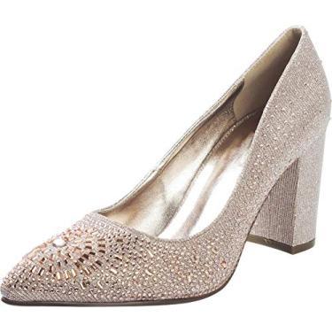 Sapato feminino Cambridge Select bico fino glitter cristal strass salto grosso bloco, Champagne, 6.5