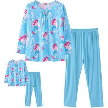 ModaIOO Pijama Combinando Bonecas e Meninas Dinossauro Sereia Unicórnio Pijama Infantil Conjunto de Pijamas, Mermaid3, 9-10 anos