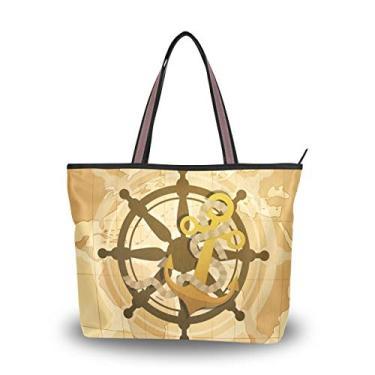 Bolsa tote com tema de Columbus, bolsa de ombro para mulheres e meninas, Multicolorido., Medium