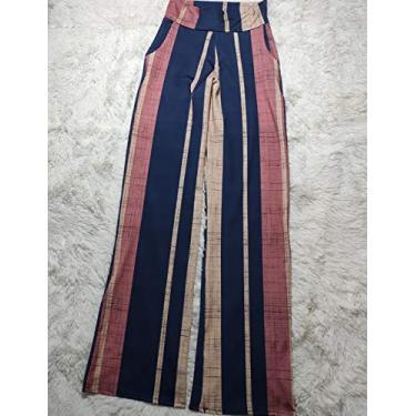 Calça Pantalona Feminina Listrada: Tamanho M (Listrado 4)