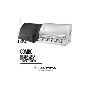 Imagem de Churrasqueira à Gás Embutir Mikazza Pro 5 + Capa + Espeto