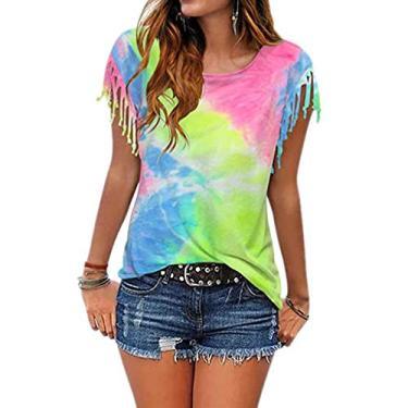 Camisetas femininas de verão, camiseta tie dye para mulheres, camisetas de manga curta, camisetas casuais, blusas de gola redonda, Verde claro, S