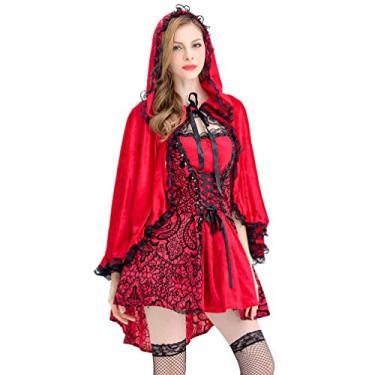 Imagem de Fantasia feminina Gótica de Chapeuzinho Vermelho KESYOO para Halloween Fantasia de Desempenho Tamanho GG (Vermelho), Vermelho, XL